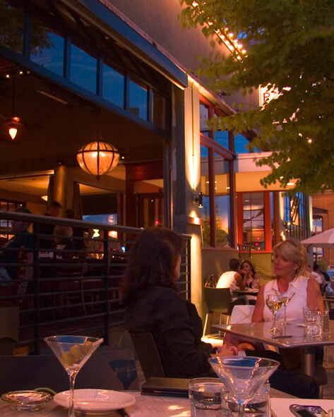 sidewalk diners at dusk