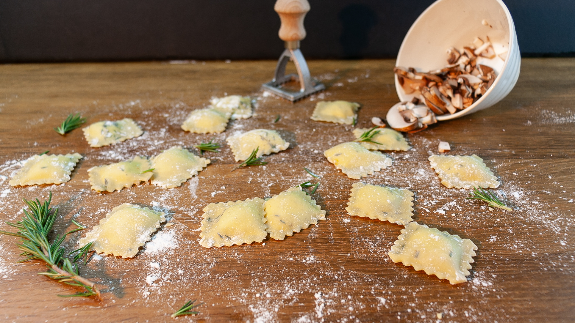 ravioli on cutting board