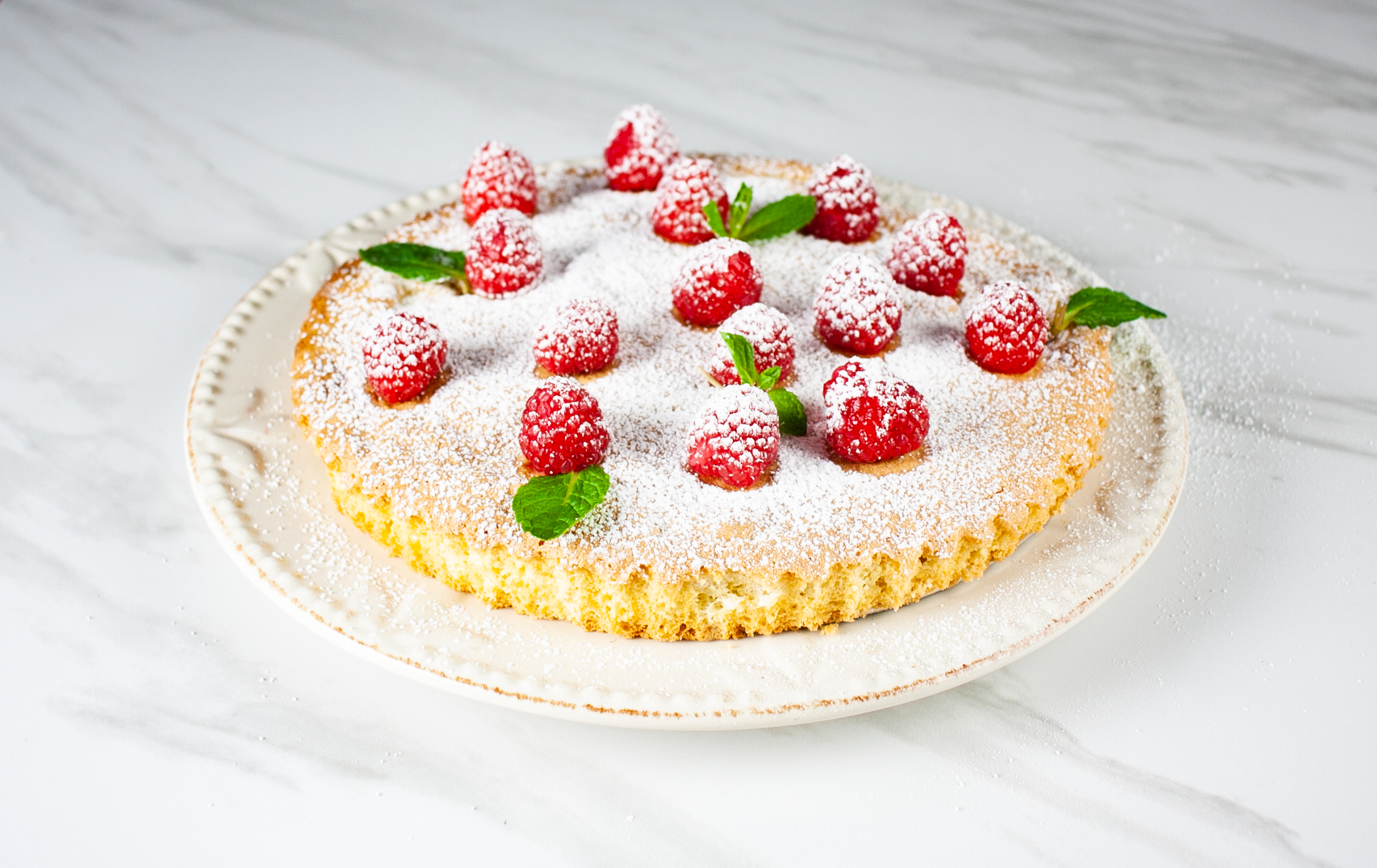 cake with raspberries