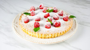 cake with raspberries and mint